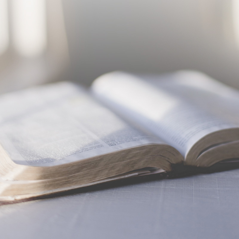 Image: Blurred picture of open Bible